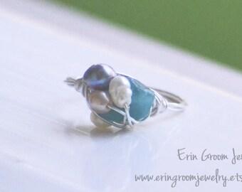 Mermaid Ring - aquamarine, clear quartz, freshwater pearl silver wrapped ring