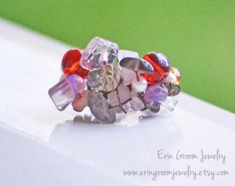 Gypsy Ring - beaded adjustable pearl rose quartz ruby glass amethyst