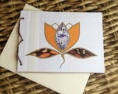 Recycled Melon & Gem Purple Lotus Flower Blank Stationery Notecard Made Using All Repurposed Materials