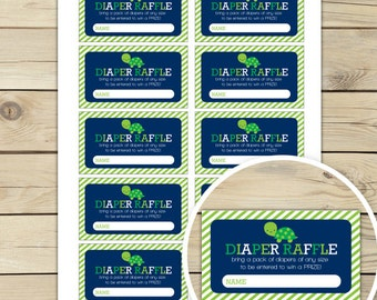 Turtle Baby Shower Diaper Raffle Tickets - Boy Baby Shower Games Printable - Instant Download - Navy Blue Green Baby Shower Ideas - Digital