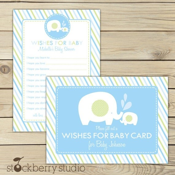 Elephant Baby Shower Wishes for Baby Boy Card - Light Blue Green - Well Wishes For Baby - Advice Cards - Advice For Mom To Be Sign