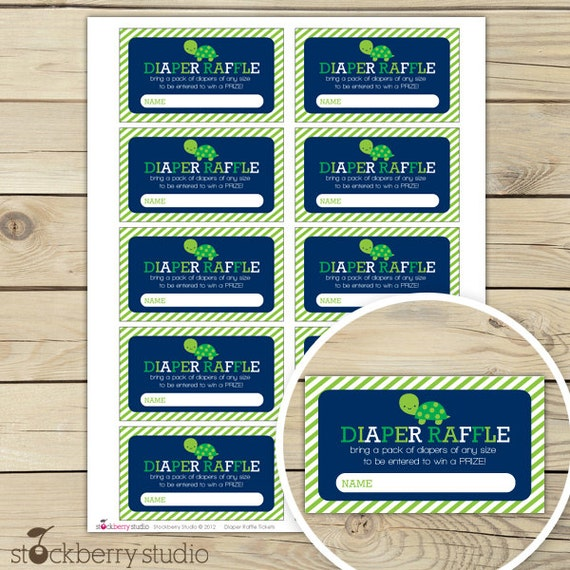 Turtle Boy Baby Shower Diaper Raffle Tickets - Instant Download