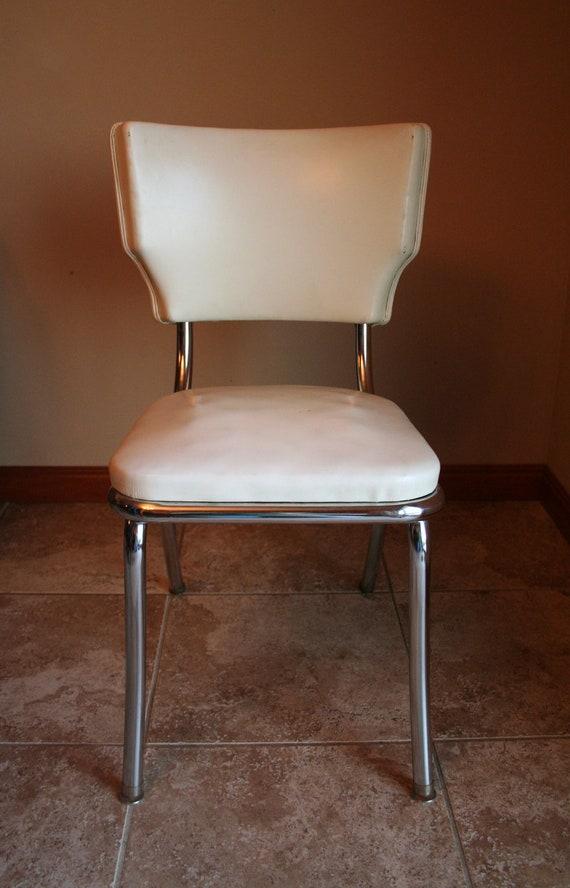 Retro White Vinyl Kitchen / Desk Chair - Mid Century Modern