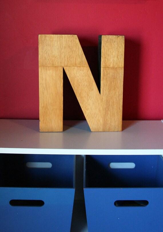 """Vintage Sign Letter - the Letter """"N"""" - Solid Wood"""