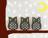 SALE Vintage Owl Trivet Trio Black Metal Made in Taiwan Bird Woodland Forest Kitsch Stand Kitchen Decor Christmas in July