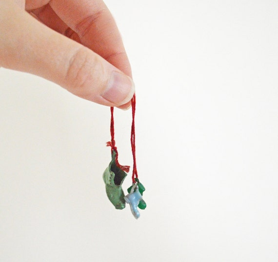 Three Tiny Vintage Shoe Charms on a String Celluloid Metal Jade Green Red Blue Boot Miniature