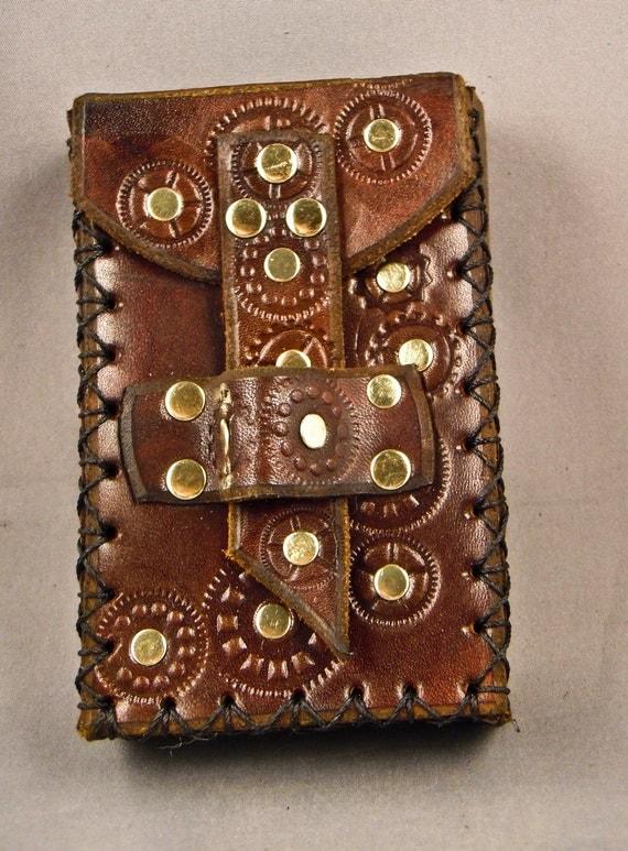 Steampunk leather smartphone / camera case -