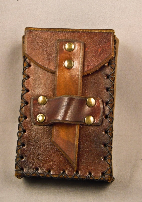 Brown leather smartphone / camera case -