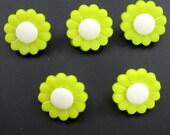 Light Green Flower Buttons  Set of Five