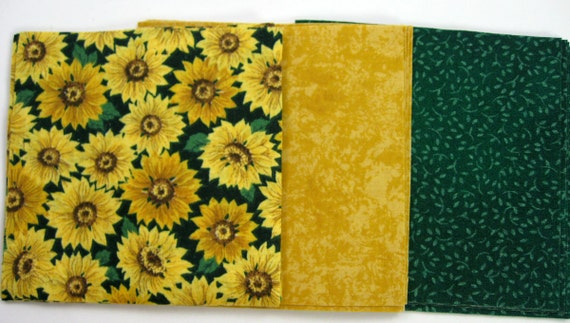 Sunflower Mix 30 - 4 inch Fabric Quilt  Squares