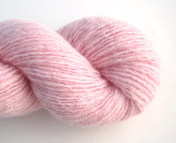 Heavy Lace Weight Cashmere Recycled Yarn, Pale Pink, Two Skeins, 310 Yards