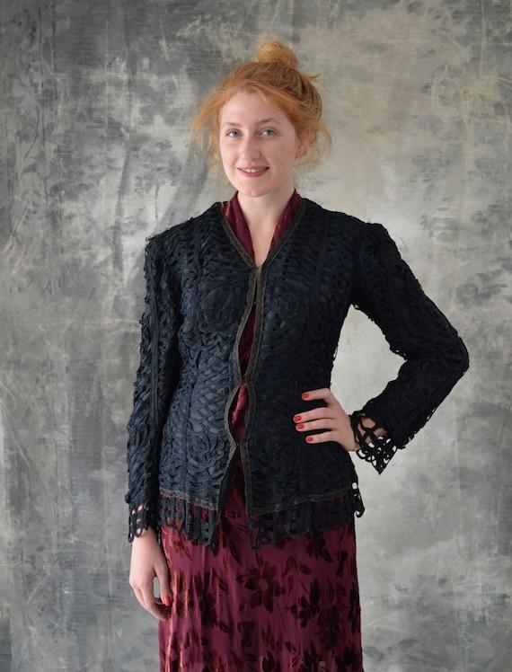 Edwardian Black Looped Ribbon Work Silk Jacket