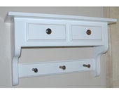 2 Drawer Decorative Wall Shelf with Pegs - choose your color