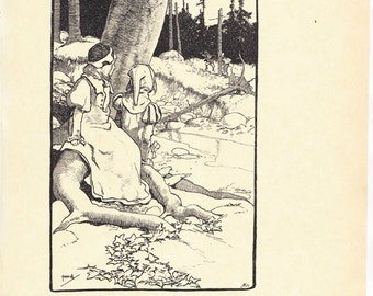 Babes in the Wood Vintage Reproduction of a Pen and Ink Drawing from 1901