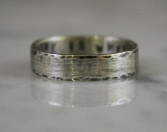 Unisex Personalized Handstamped Sterling Silver Ring, 5mm, Custom made