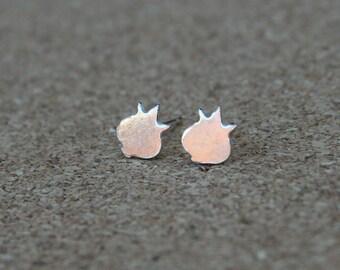 Tiny Silver Pomegranate studs - pomegranate earrings