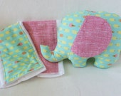 Baby Shower Gift-Plush Elephant and Pair of Coordinating Burp Cloth-RESERVED for emanderson2008