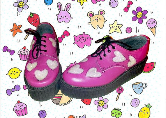 Hot Pink Leather Creepers W/ Glitter Hearts // 9