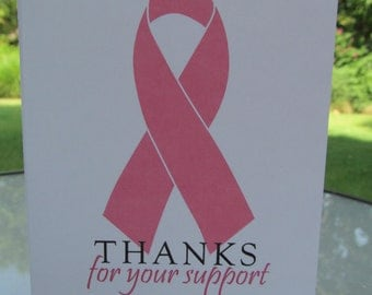 Breast cancer pink ribbon thank you notes- set of 10