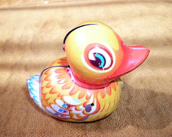 Lehmann Friction Vintage Tin Toy Duck, West Germany, 1950s
