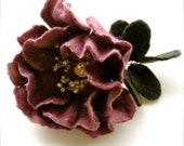 Pink Dog- Rose - handmade Felt Flower Brooch