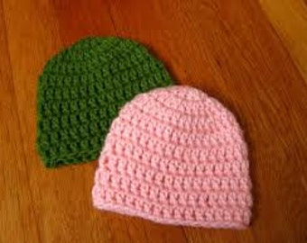 10 Simple Crochet Beanie (wholesale pricing) MANY COLORS Made to order- NB to Adult
