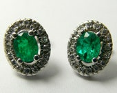 Candle Light Required!1.10tcw Colombian Emerald & Diamond Post Earrings 14k