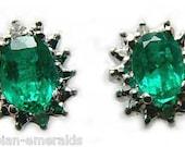 Regal Elegance! Colombian Emerald & Diamond Cluster Earrings 14k