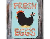 "Fresh Eggs Sign 12"" x 18"" Blue Pastel"