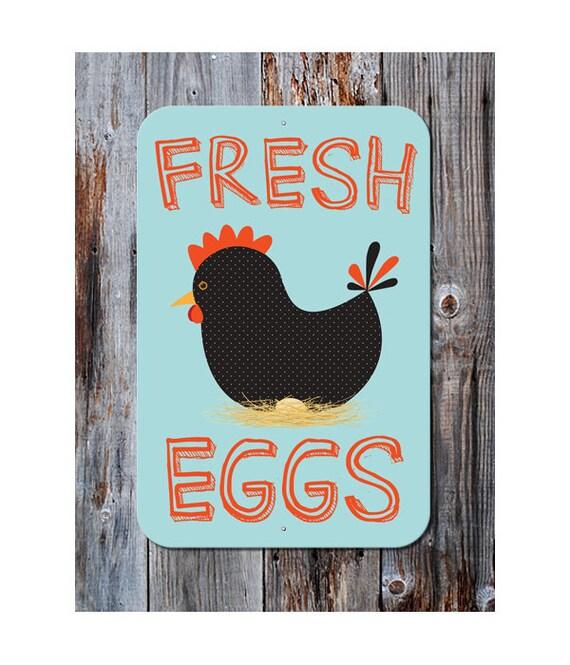 "Fresh Eggs Sign 12"" x 18"" Blue Pastel"