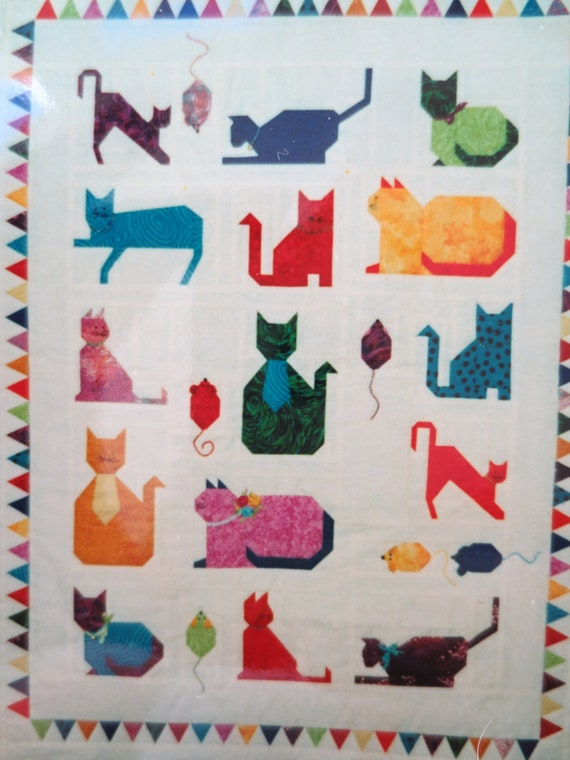 Miniature Quilt Patterns Paper Pieced : RESERVED Paper Pieced Quilt Pattern Mini Cats Galore Quilt