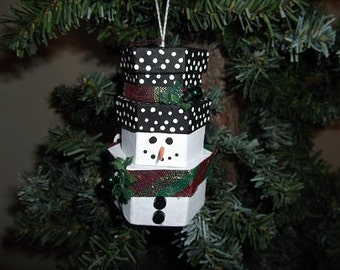 Christmas Ornament - Stacked Box Snowman - Hexagonal