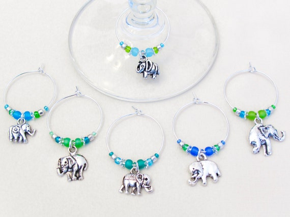 Elephant Wine Charms - Set of 6 Elephant Wine Charms in Blue and Green