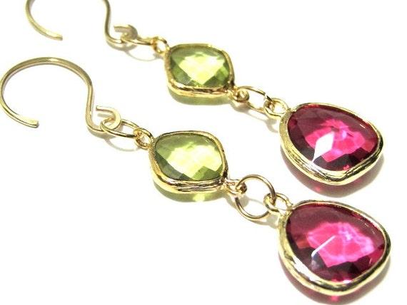 Gold Dangle Earrings Pink Green Glass Pendant Cascade Earrings