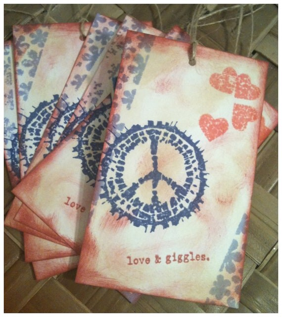 SIX Peace Love Giggles Hand Inked Stamped Retro Peace Symbol Hearts Daisies Red Blue Antique Linen Ink Handmade Gift Tags