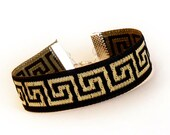 Meandros - Greek Key - Black and Gold - Upon request - Handmade Jacquard Ribbon Bracelet - Unisex
