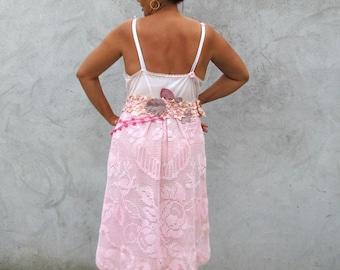 Robe Poétique et Romantique  XL/XXL  Women dresses vintage 1930s Style Boho chic romantic dress combined of vintage pieces