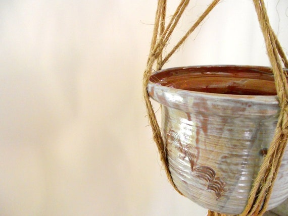 Hanging Pottery Planter Pot | Vintage Planter Container | Handmade | 1970s Pot with Macramé Hanger | Summer Garden Room Decor