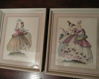 Two Framed, Antique Pictures of Victorian Women in Soft Pastels