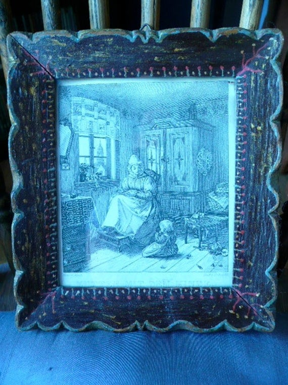 Antique Hand Painted German Wood Frame around Print of Mother and Child german Writing on back 1833