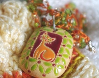 Orange Kitty Crocheted Necklace
