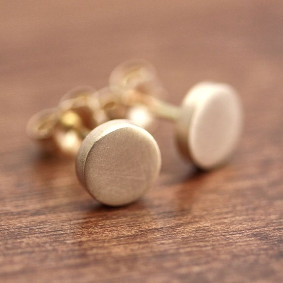 Geometric Modern Metal Gold Post Earrings, Brushed Recycled 14k Gold Polka Dots Stud Earrings Circles Gold Jewelry - Luxury