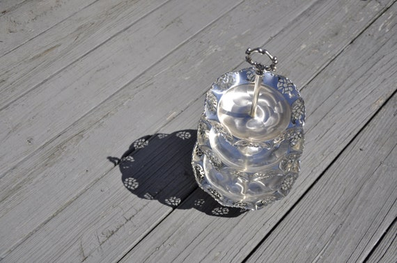 3 Tier Serving Tray w/ Filligree Ruffle Edge - Silver Plated Brass - Vintage