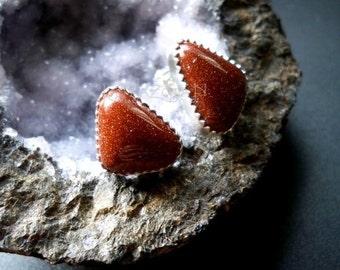 Goldstone stud earrings -  sterling silver ear posts - handcut cabochons - Gemstone jewelry by Lamazonian