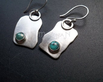 "Sterling silver and turquoise free form asymmetrical fragment dangle earrings - 1 1/2"" - Gemstone jewelry by Lamazonian"