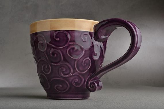 Curly Mug : Purple and Mocha Slip Trailed Mug by Symmetrical Pottery