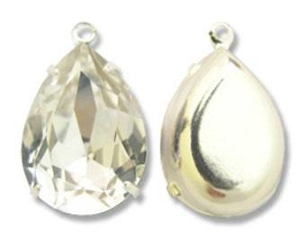 Swarovski pear shape rhinestone in setting 18 mm - silver QTY 2