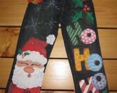 Girls Handpainted Christmas Jeans. Santa Ho Ho Ho.