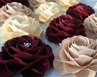 Paper Flowers - Wedding Decoration - Baby Shower - Ruffled Roses - Customized Colors - Set of 25 - Made To Order