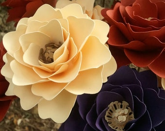 Paper Flowers - Wedding Flowers - Fall Flowers - Stemmed - Mixed Colors - Made To Order - SET OF 48